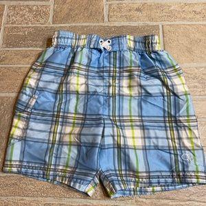 Boys swim trunks blue plaid OP 3T